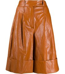 jejia high-rise wide leg bermuda shorts - brown