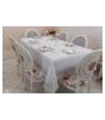 toalha de mesa retangular lisa 6 lugares 180x410cm branco