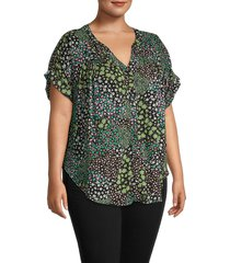 cooper & ella women's plus ditsy floral shirt - green multicolor - size 1x (14-16)