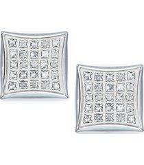 men's diamond earrings in stainless steel (1/4 ct. t.w.)