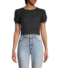 love ady women's puff-sleeve cropped sweater - black - size l