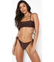 bikini broekje met zijstrikjes, chocolate