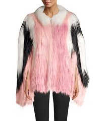 convertible cape faux fur jacket