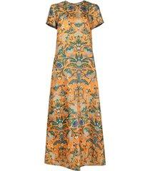 la doublej floral print swing dress - orange