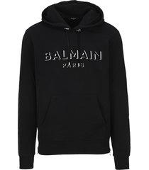 balmain 3d logo printed hoodie