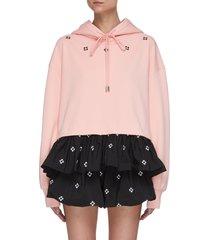 floral embroidered crop hoodie