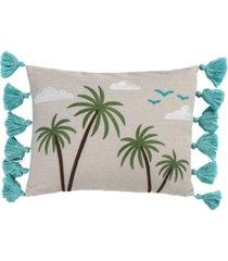 "homthreads beach days beach please pillow, 18"" x 18"""