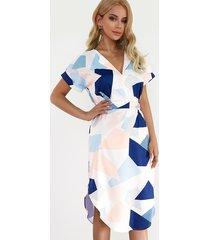 random geometrical pattern round neck short sleeves mini dress