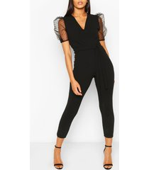dobby organza sleeve tapered jumpsuit, black