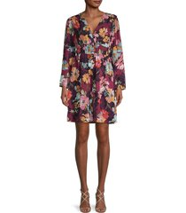 emma & michele women's floral fit-&-flare dress - red multi - size m