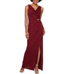 alex evenings petite jacquard column gown