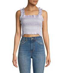 rebecca taylor women's smocked crop top - sky - size xs