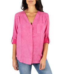 women's kut from the kloth danica v-neck blouse, size medium - coral