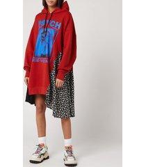 mcq alexander mcqueen women's hybrid hoody dress - rust - m
