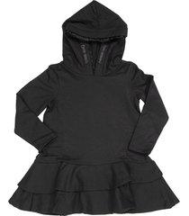 moncler dress with flounces and hood