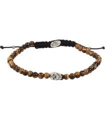 degs & sal stone bead skull bracelet in brwn at nordstrom