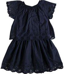 name it laagjes jurk katoen donkerblauw