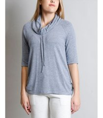 coin 1804 women's cozy cowl neck side ruched top