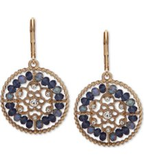 lonna & lilly gold-tone crystal & bead openwork drop earrings