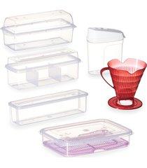 conjunto de potes plásticos p/ armezenar cozinha - 6 peças