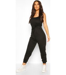 2 in 1 cami top & jogger jumpsuit, black