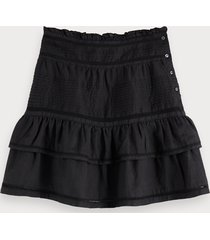 scotch & soda ruffled ramie skirt