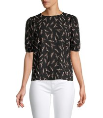 saks fifth avenue women's printed puff-sleeve blouse - black - size m