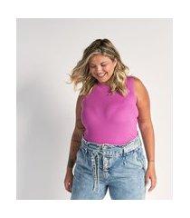 blusa regata em tricô gola alta curve & plus size   ashua curve e plus size   rosa   eg