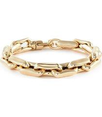 lucky link medium square 14k gold chain bracelet