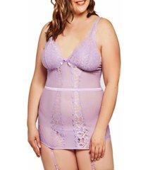 jeannie plus size elegant lace chemise and panty set, 2 piece