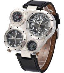 reloj oulm 9415 - plata / negro