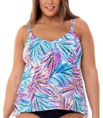 swim solutions plus size palmalicious printed princess-seam tankini top, created for macy's women's swimsuit