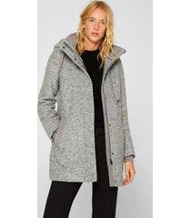 abrigo con lana y capucha gris esprit