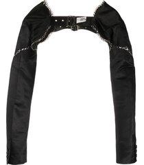 comme des garçons noir kei ninomiya buckle-front bolero jacket - black