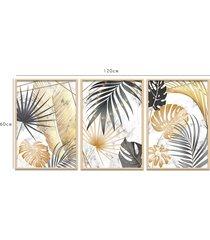 quadro louros 60x120cm folhagens douradas fundo mármore mold natural - tricae