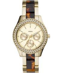 fossil women's stella gold-tone stainless steel & acetate bracelet watch 38mm