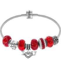link up i love you crystal and glass bead charm bracelet in sterling silver