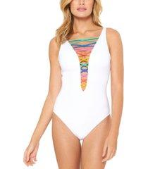 bleu by rod beattie rainbow lace-down one-piece swimsuit women's swimsuit