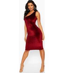velvet one shoulder midi dress, berry