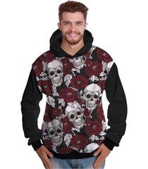 blusa de moletom di nuevo crânio rock floral morte caveira mexicana preto - kanui