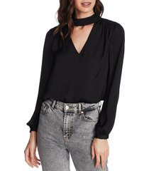 1.state mock v-neck blouse, size x-small in rich black at nordstrom