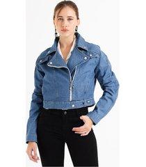 campera celeste her jeans