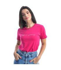 blusa t-shirt manga curta cor rosa pink tecido algodão