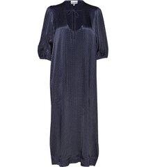 heavy satin long dress maxiklänning festklänning blå ganni
