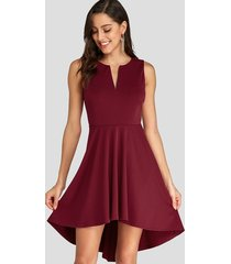 burgundy v neck high-low hem pleated sleeveless dress