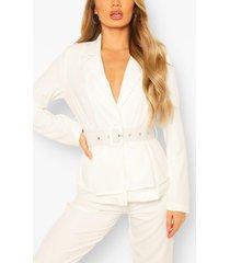 self belt peplum blazer, white