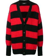 dsquared2 horizontal stripes cardigan - black