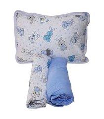 jogo lençol berço americano 3 peças 100% algodão coelho azul
