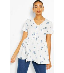 maternity woven floral print smock top, white