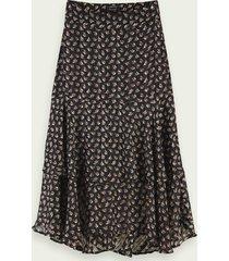 scotch & soda sheer stripe floral print midi skirt